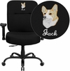 Embroidered HERCULES Series 400 lb. Capacity Big & Tall Black Fabric Executive Swivel Office Chair with Extra WIDE Seat and Height Adjustable Arms [WL-735SYG-BK-A-EMB-GG]