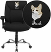 Embroidered HERCULES Series 400 lb. Capacity Big & Tall Black Fabric Swivel Task Chair with Height Adjustable Arms [GO-2073F-EMB-GG]