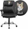 Embroidered HERCULES Series 400 lb. Capacity Big & Tall Black Leather Swivel Task Chair with Height Adjustable Arms [GO-2031-LEA-EMB-GG]