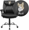 Embroidered HERCULES Series 400 lb. Capacity Big & Tall Black Leather Swivel Task Chair with Height Adjustable Arms [GO-2073-LEA-EMB-GG]