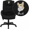 Embroidered High Back Black Fabric Executive Swivel Office Chair [GO-5301B-BK-EMB-GG]