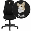 Embroidered High Back Black Fabric Multi-Functional Ergonomic Swivel Task Chair [BT-90297H-EMB-GG]
