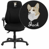Embroidered High Back Black Fabric Multi-Functional Ergonomic Swivel Task Chair with Height Adjustable Arms [BT-90297H-A-EMB-GG]