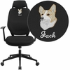 Embroidered High Back Black Fabric Executive Swivel Office Chair with Height Adjustable Headrest [CS-75-EMB-GG]