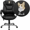 Embroidered High Back Black Leather Contemporary Executive Swivel Office Chair [GO-725-BK-LEA-EMB-GG]