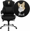 Embroidered High Back Black Leather Contemporary Executive Swivel Office Chair [H-9626L-2-EMB-GG]