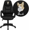 Embroidered High Back Black Leather Contemporary Executive Swivel Office Chair [H-HLC-0005-HIGH-1B-EMB-GG]