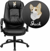 Embroidered High Back Black Leather Executive Swivel Office Chair [GO-710-BK-EMB-GG]