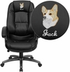 Embroidered High Back Black Leather Executive Swivel Office Chair [GO-7145-BK-EMB-GG]