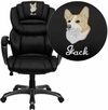 Embroidered High Back Black Leather Executive Swivel Office Chair with Leather Padded Loop Arms [GO-901-BK-EMB-GG]