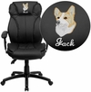 Embroidered High Back Black Leather Executive Swivel Office Chair with Triple Paddle Control and Lumbar Support Knob [BT-9835H-EMB-GG]
