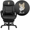 Embroidered High Back Black Leather Executive Reclining Swivel Chair with Comfort Coil Seat Springs and Arms [BT-90506H-EMB-GG]