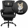 Embroidered High Back Black Leather Executive Reclining Swivel Chair with Lumbar Support,Comfort Coil Seat Springs and Arms [BT-90527H-EMB-GG]