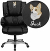Embroidered High Back Black Leather OverStuffed Executive Swivel Office Chair [GO-958-BK-EMB-GG]