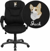 Embroidered High Back Black Microfiber Contemporary Executive Swivel Office Chair [GO-725-BK-EMB-GG]