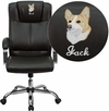 Embroidered High Back Brown Leather Executive Swivel Office Chair [BT-9080-BRN-EMB-GG]