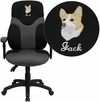 Embroidered High Back Ergonomic Black and Gray Mesh Swivel Task Chair with Height Adjustable Arms [BT-6001-GYBK-EMB-GG]