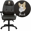 Embroidered High Back Espresso Brown Leather Executive Swivel Office Chair [BT-2350-BRN-EMB-GG]