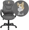Embroidered High Back Gray Microfiber Contemporary Executive Swivel Office Chair [GO-725-GY-EMB-GG]