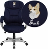 Embroidered High Back Navy Blue Microfiber Contemporary Executive Swivel Office Chair [GO-725-NVY-EMB-GG]