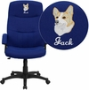 Embroidered High Back Navy Blue Fabric Executive Swivel Office Chair [BT-134A-NVY-EMB-GG]