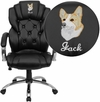Embroidered High Back Transitional Style Black Leather Executive Swivel Office Chair [GO-908A-BK-EMB-GG]