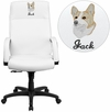 Embroidered High Back White Leather Executive Swivel Office Chair with Memory Foam Padding [BT-90033H-WH-EMB-GG]