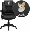 Embroidered Massaging Black Leather Executive Swivel Office Chair [BT-2536P-1-EMB-GG]