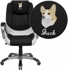 Embroidered Mid-Back Black and White Leather Executive Swivel Office Chair [CH-CX0217M-EMB-GG]