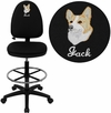 Embroidered Mid-Back Black Fabric Multi-Functional Drafting Chair with Adjustable Lumbar Support [WL-A654MG-BK-D-EMB-GG]