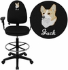 Embroidered Mid-Back Black Fabric Multi-Functional Drafting Chair with Adjustable Lumbar Support and Height Adjustable Arms [WL-A654MG-BK-AD-EMB-GG]