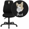 Embroidered Mid-Back Black Fabric Multi-Functional Ergonomic Swivel Task Chair [BT-90297M-EMB-GG]