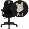 Embroidered Mid-Back Black Fabric Multi-Functional Ergonomic Swivel Task Chair with Height Adjustable Arms [BT-90297M-A-EMB-GG]