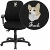 Embroidered Mid-Back Black Fabric Multi-Functional Ergonomic Swivel Task Chair with Height Adjustable Arms [BT-90297S-A-EMB-GG]