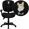 Embroidered Mid-Back Black Fabric Multi-Functional Ergonomic Swivel Task Chair with Height Adjustable Arms [GO-930F-BK-ARMS-EMB-GG]