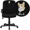 Embroidered Mid-Back Black Fabric Executive Swivel Office Chair with Nylon Arms [GO-ST-6-BK-EMB-GG]