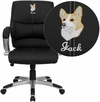 Embroidered Mid-Back Black Leather Contemporary Swivel Manager's Chair [H-9637L-2-MID-EMB-GG]