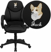Embroidered Mid-Back Black Leather Contemporary Executive Swivel Office Chair [H-HLC-0005-MID-1B-EMB-GG]