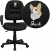 Embroidered Mid-Back Black Leather Ergonomic Swivel Task Chair with Height Adjustable Arms [BT-682-BK-EMB-GG]