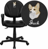 Embroidered Mid-Back Black Leather Ergonomic Swivel Task Chair with Arms [BT-688-BK-A-EMB-GG]