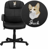 Embroidered Mid-Back Black Leather Executive Swivel Office Chair [BT-8075-BK-EMB-GG]
