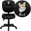 Embroidered Mid-Back Black Leather Multi-Functional Ergonomic Swivel Task Chair [GO-930F-BK-LEA-EMB-GG]