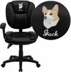Embroidered Mid-Back Black Leather Multi-Functional Ergonomic Swivel Task Chair with Height Adjustable Arms [GO-930F-BK-LEA-ARMS-EMB-GG]