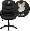 Embroidered Mid-Back Black Leather Swivel Task Chair [GO-977-1-BK-LEA-EMB-GG]