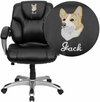 Embroidered Mid-Back Black Leather Swivel Task Chair [GO-931H-MID-BK-EMB-GG]