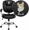 Embroidered Mid-Back Black Leather Swivel Task Chair [GO-930-BK-EMB-GG]