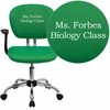 Embroidered Mid-Back Bright Green Mesh Swivel Task Chair with Chrome Base and Arms [H-2376-F-BRGRN-ARMS-EMB-GG]