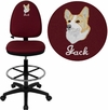 Embroidered Mid-Back Burgundy Fabric Multi-Functional Drafting Chair with Adjustable Lumbar Support [WL-A654MG-BY-D-EMB-GG]