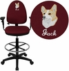 Embroidered Mid-Back Burgundy Fabric Multi-Functional Drafting Chair with Adjustable Lumbar Support and Height Adjustable Arms [WL-A654MG-BY-AD-EMB-GG]
