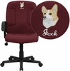 Embroidered Mid-Back Burgundy Fabric Executive Swivel Office Chair with Nylon Arms [GO-ST-6-BY-EMB-GG]